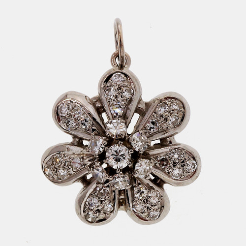 .45 Carat Diamond White Gold Flower Pendant