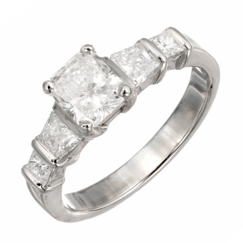 Estate Platinum Center Radiant Cut Diamond 4 Trapezoid And Princess Cuts Ring