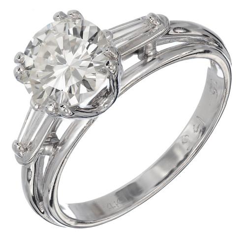 EGL Certified 1.51 Carat Diamond Baguette Gold Three-Stone Engagement Ring