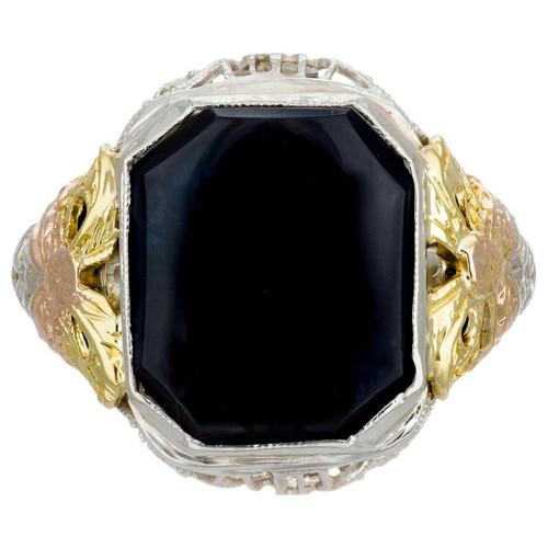Onyx Tri-Color Gold Art Deco Filigree Ring