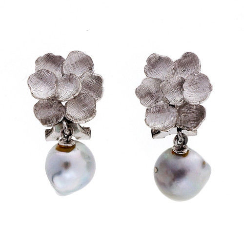 Gray Blue Baroque  Pearl White Gold Earrings