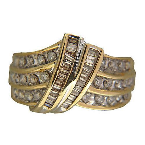 Vintage Three Row 1.10ct Diamond Swirl Baguette Round 14k Yellow Gold Ring