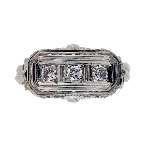 Art Deco .17 Carat Diamond White Gold Ring