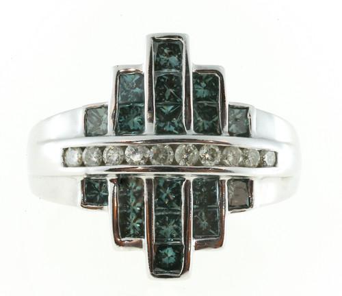 Vintage SNB Bold 14k Gold Blue Enhanced Bright White Diamond Ring