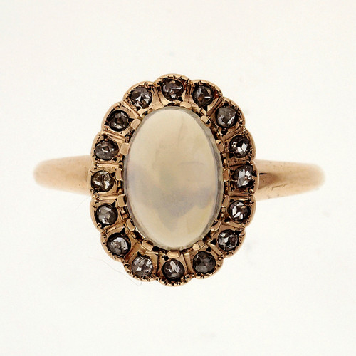 Victorian 1.10 Carat Moonstone Diamond Rose Gold Ring