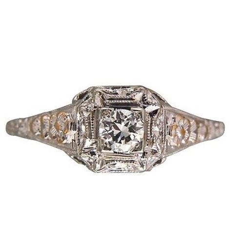 Vintage Designer Whitehorse 18k Gold Filigree Ring .21ct Round Full Diamond