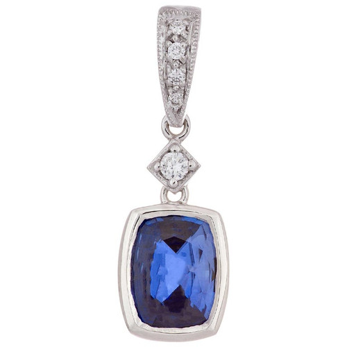 1.06 Carat Cushion Cut Sapphire Diamond White Gold Pendant