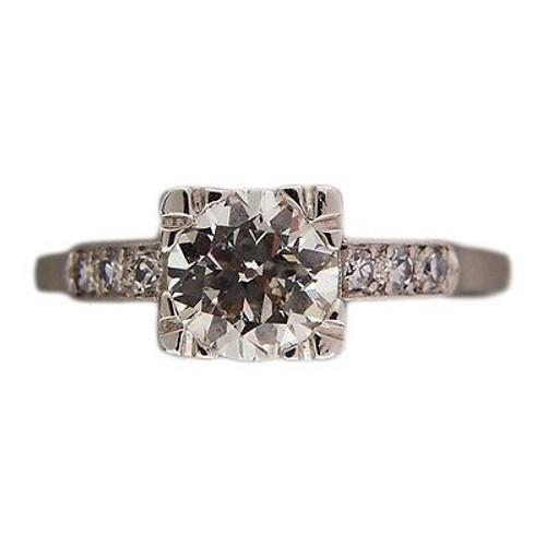 Art Deco 1.07ct European Diamond Retro Platinum Size 8 3/4 Ring