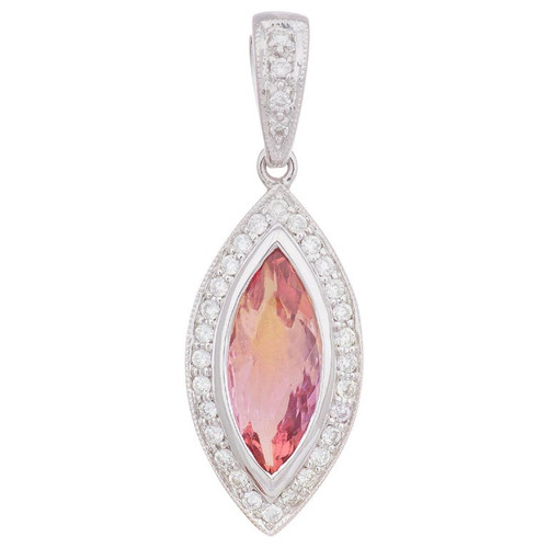 1.25 Carat Pink Topaz Diamond Halo White Gold Pendant