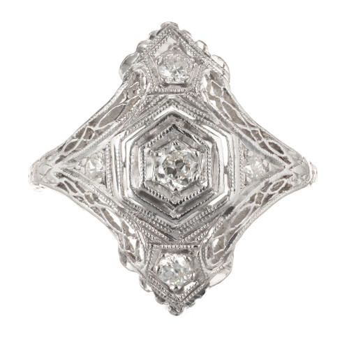 Art Deco 0.12 Carat Diamond Platinum Ring