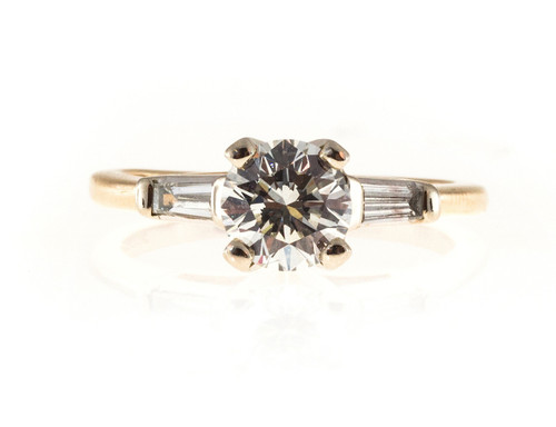 Vintage 1.00ct F Color Round Diamond Clarity 14k Yellow White Gold Baguette Ring