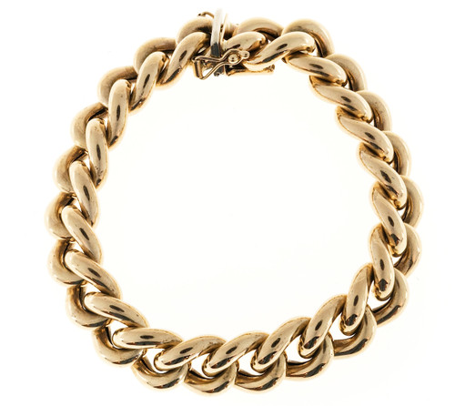Yellow Gold Puffed Oval Link Bracelet