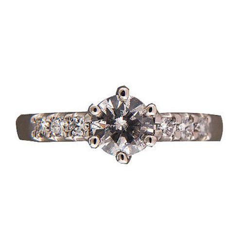 Vintage Estate .58ct Natural Fancy Light Gray Full Cut Diamond Platinum Ring