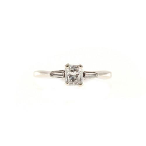 Vintage Estate .65ct Cushion Cut Diamond 14k White Gold .06ct Baguette Ring