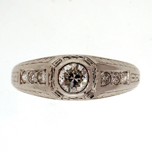 Art Deco .26 Carat Diamond Platinum Ring