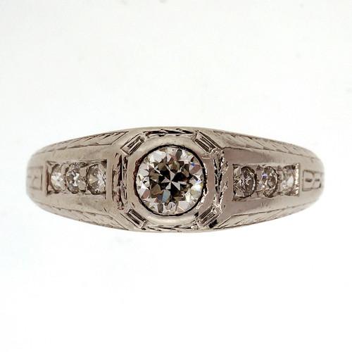 Art Deco .26 Carat Diamond Platinum Ring