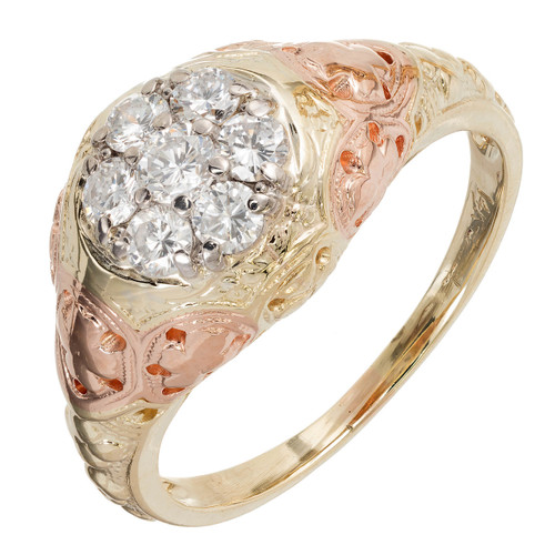 Jabel Ring .50 Carat Diamond Rose Green Gold .50ct Ring