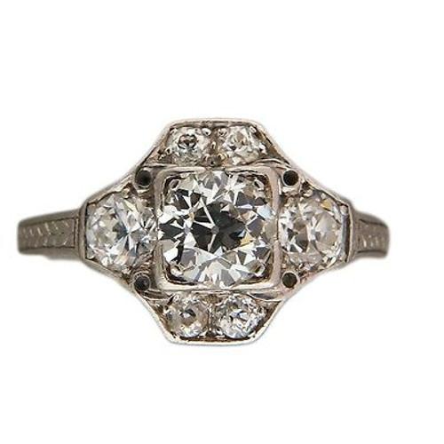 Vintage Estate Art Deco Platinum Ring .73ct Old European Diamond Ring