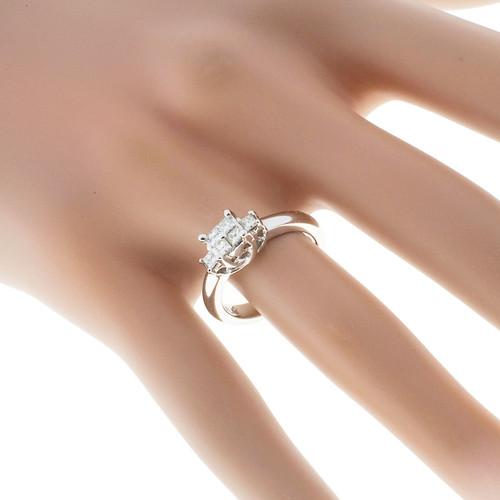 Vintage Estate .70ct Platinum Princess Cut Engagement Diamond Ring