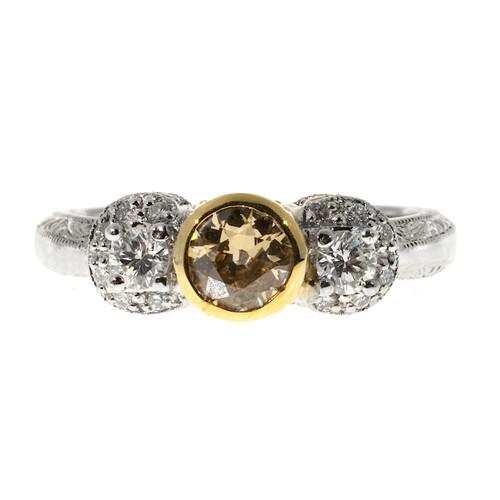 Vintage .44ct Old European Cut Natural Yellow Diamond Filigree Platinum Mk Ring