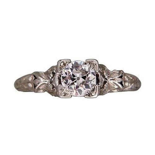 Vintage Engagement Ring Art Deco .50ct Old European Diamond Platinum