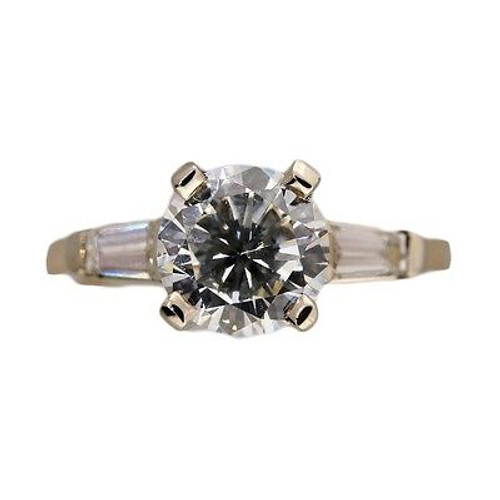 Vintage Engagement Ring 1940 .90ct Round Diamond Certified 14k .09ct Baguette