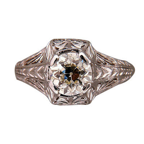Vintage Estate .95ct Old European Cut Platinum Engraved Filigree Ring