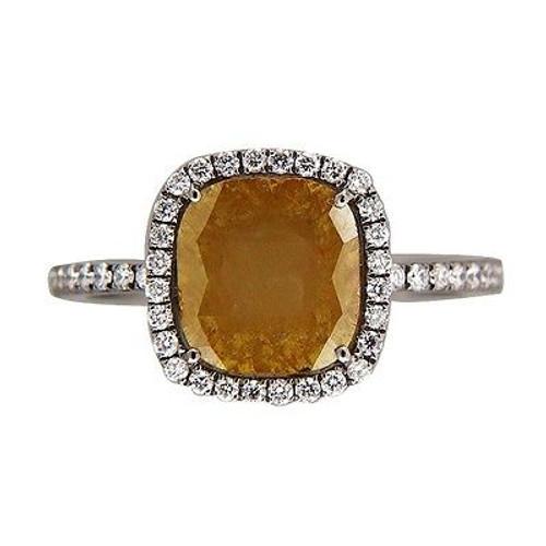 Vintage 1.83ct Cushion Brown Green Diamond 14k Blackened White Gold Halo Ring