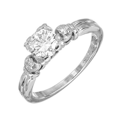 Vintage Engagement Ring 1953 Art Deco .63ct Transitional Diamond Platinum