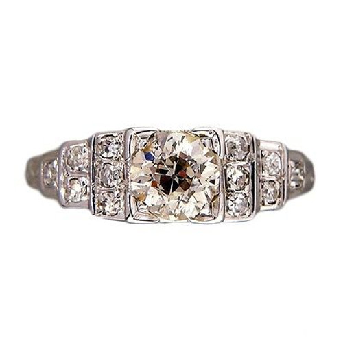Vintage Engagement Ring Art Deco .65ct Old European Diamond 18k White Gold