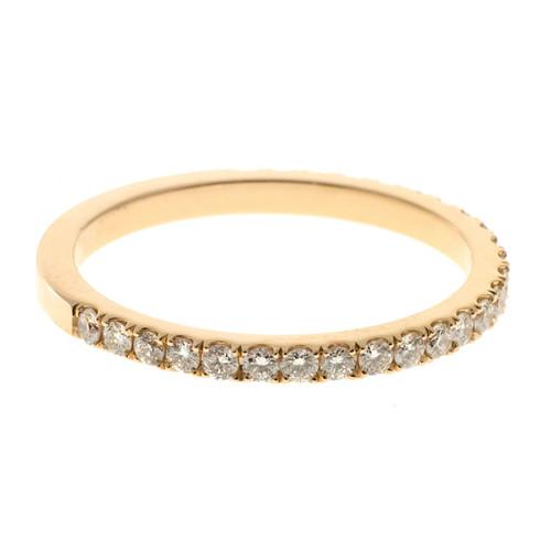 Wedding Band 18k Pink Gold Groove Set .52ct Diamond Ring