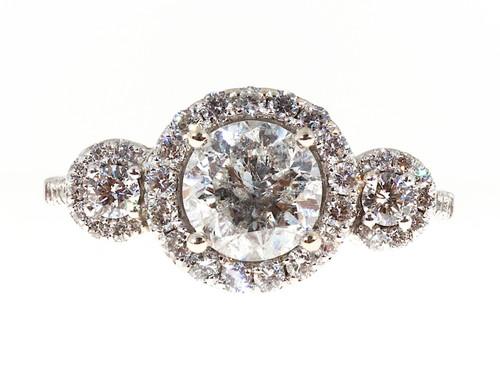 Engagement 1.57ct Diamond Three Stone Halo 14k White Gold Ring