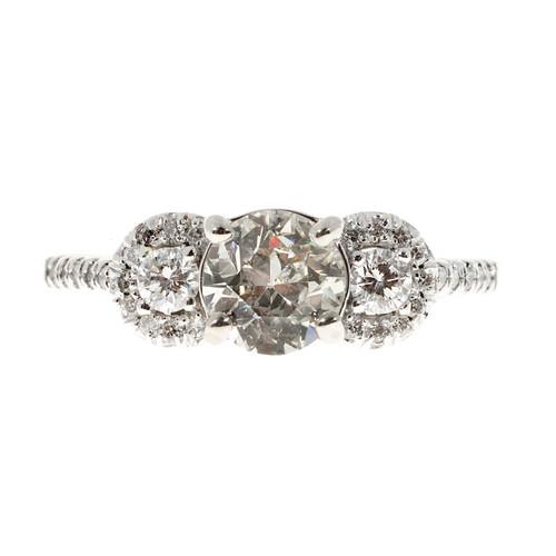 European Cut .94ct Diamond Halo Three Stone 14k White Gold Engagement Ring