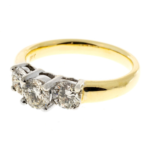 Three Stone Engagement Ring .62ct Center .90ct Sides 18k Gold