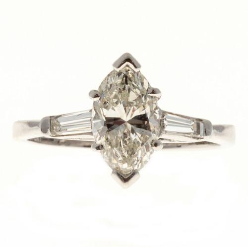 1.31 Carat Diamond Marquise Baguette Platinum Engagement Ring