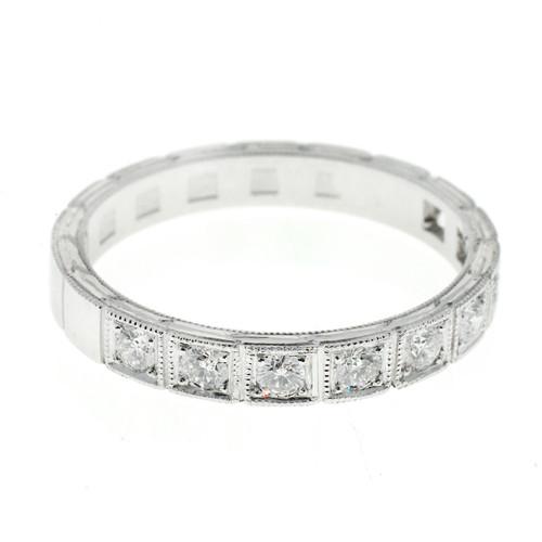 Wedding Band Art Deco Style .27ct Diamond Platinum Ring