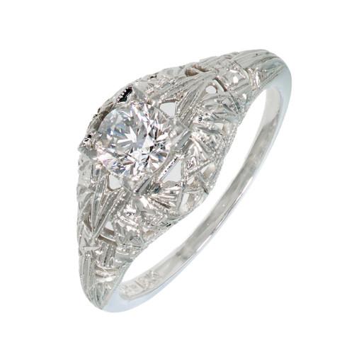 Art Deco Antique Engagement Ring Old European .45ct Diamond 18k White Gold