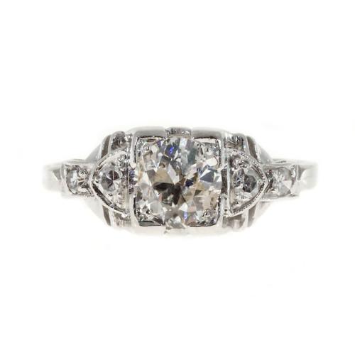 Art Deco Engagement Ring .65ct Platinum Diamond Vintage Ring
