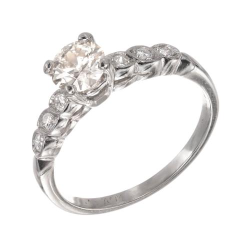 GIA Certified .59 Carat Old European Diamond Platinum Engagement Ring