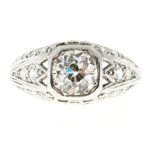 Antique Art Deco .93ct Old European Cut Platinum Diamond Ring