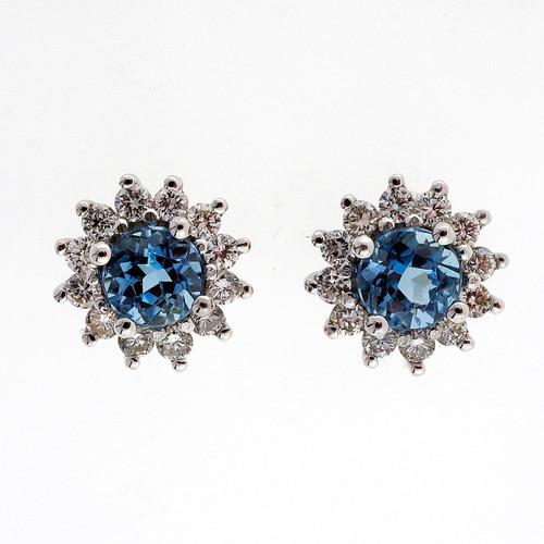.90 Aqua Diamond White Gold Diamond Earrings