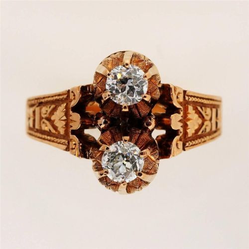 Vintage Victorian 14k Pink Gold Hand Engraved .33 ct Diamond Ring