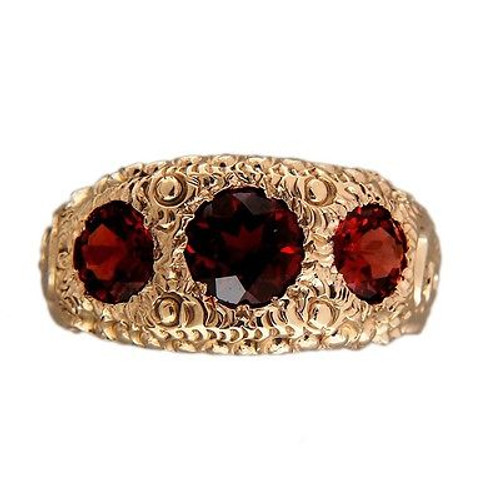 Vintage Victorian 14k Hand Engraved 2.20ct 1900 Yellow Gold Garnet Ring