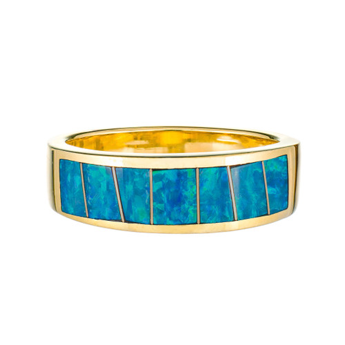 Opal Inlay 14k Yellow Gold Band Ring