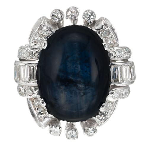 10.33 Carat Oval Cabochon Sapphire Diamond Gold Art Deco Cocktail Ring