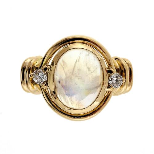 3.23 Carat Moonstone Diamond Yellow Gold Ring