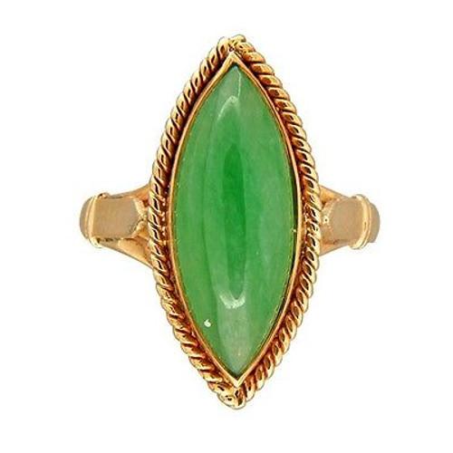 Marquise Jadeite Jade Rose Gold Cocktail Ring
