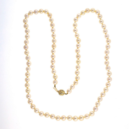 29 Inch Japanese Akoya Cultured Pearl 7.5 To 8mm Necklace