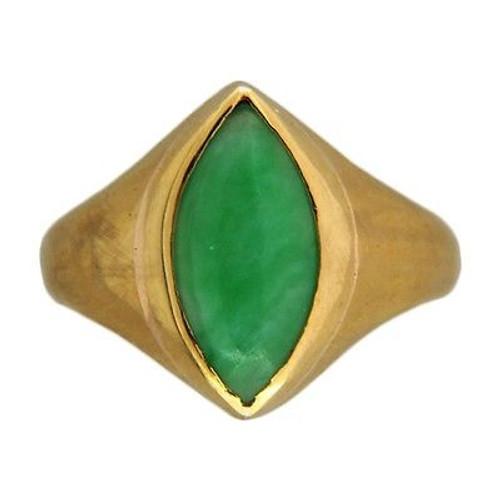 "Vintage Rare ""A"" Grade Green Marquise Jadeite Jade 22k Yellow Gold Ring"