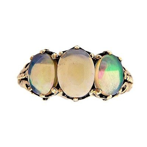 Vintage Three Stone 9k Yellow Gold 1.73ct Blue Green Opal Ring
